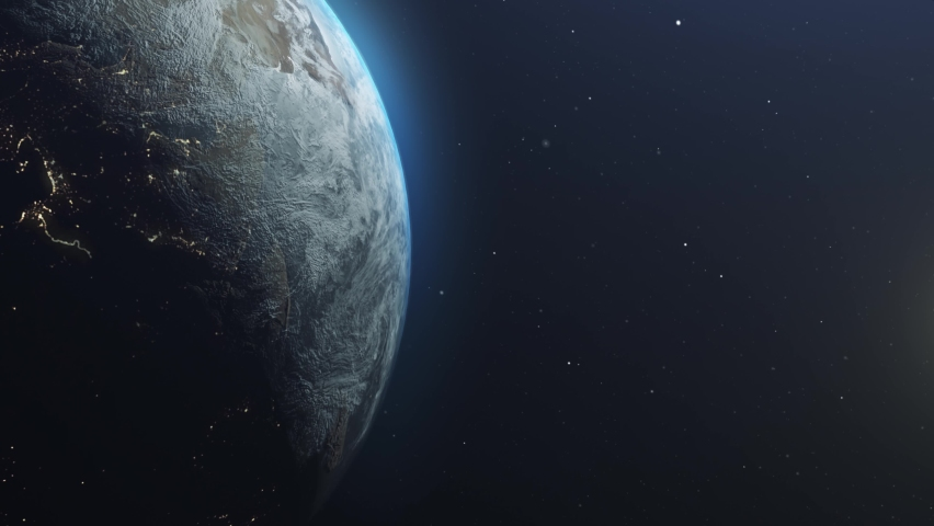 Asteroid Meteor Comet strike over Earth Impact causing apocalypse , earth destruction Cinematic vision End of world Concept outer space view  Royalty-Free Stock Footage #1069023835