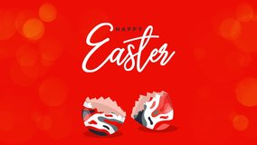 Happy Easter Greeting. Easter egg on a red bokeh background. Easter text coming out from the broken egg. 4K Video motion graphic animation.