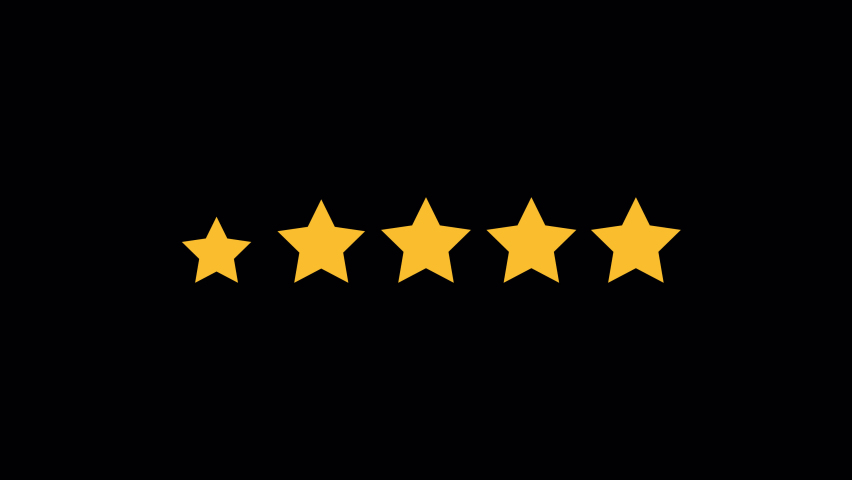 Set of Stars. Five Star Rating on Transparent Background. Animation with alpha channel. Just Drag and Drop. Product Quality, Feedback, Customer review. Royalty-Free Stock Footage #1069094593