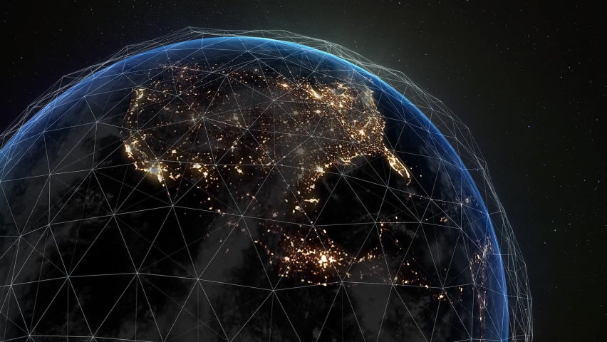 Digital grid over the surface of the night planet. A futuristic, global network that covers the entire planet.   Shutterstock HD Video #1069096816
