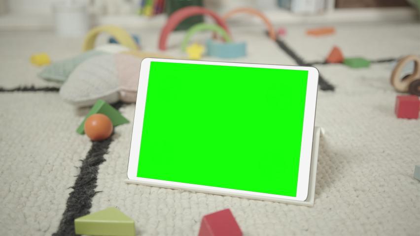 Mockup of Digital Tablet in Children's Room Interior Royalty-Free Stock Footage #1069111825