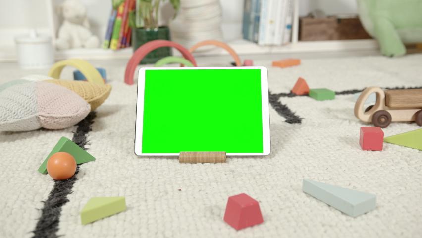 Mockup of Digital Tablet in Children's Room Interior Royalty-Free Stock Footage #1069111837