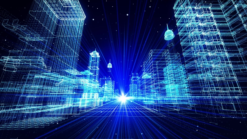 4K 3D Digital Virtual Smart City Cyberspace In The City Loop Background. Flying icon Numbers And Codes. Technology Business. Virtual reality hologram digital Wireframe environment. | Shutterstock HD Video #1069113340