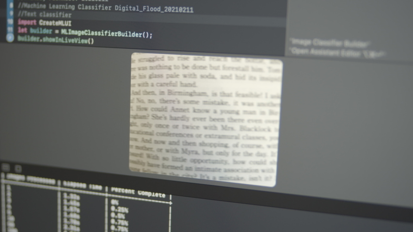2.49 Real Neural Network Machine Learning Analyzes Printed Text Royalty-Free Stock Footage #1069178359