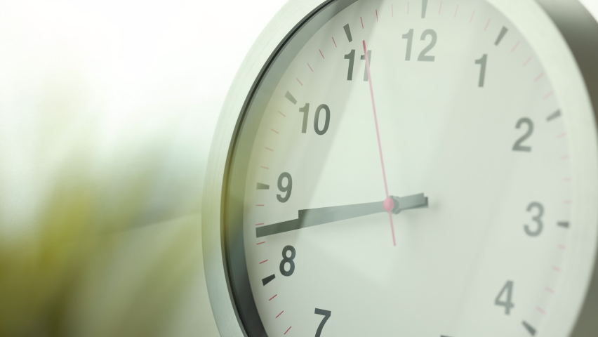 Time lapse movie. Large white wall clock Set the time for 9.00 o'clock. The red minute hand keeps running. | Shutterstock HD Video #1069186297