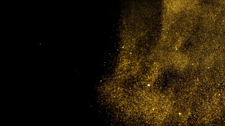 Gold dust particles fly in slow motion in the air lingering slowly. Dust Particles Background Bokeh Lights Background on Black Background 4k Footage Snow Particles Background. | Shutterstock HD Video #1069230118