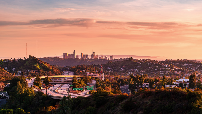 Downtown Los Angeles Sunset Time lapse