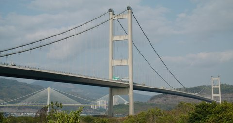 Tsing Ma Suspension bridge in Hong Kong city