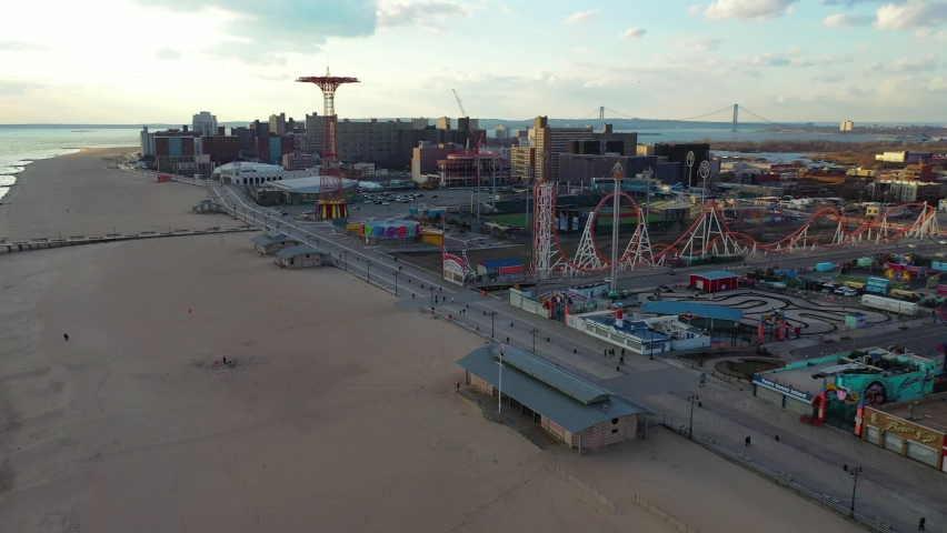 Coney Island, NY-United States - February 8, 2020:  This is an aerial view of Coney Island.