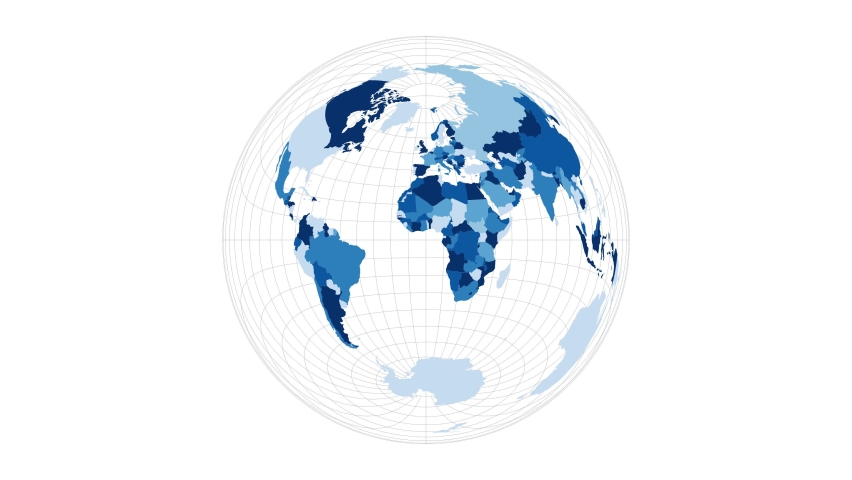 World Map. Lambert azimuthal equal-area projection. Loopable rotating map of the world. Attractive footage.
