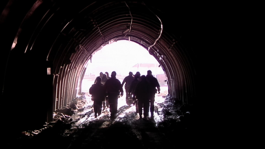 Silhouette of Miners leaving the Coal Mine in Patagonia, Argentina. | Shutterstock HD Video #1069329292
