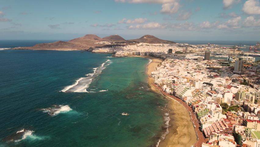 Aerial view on Las Palmas de Gran Canaria, Canary Islands, Spain | Shutterstock HD Video #1069341106