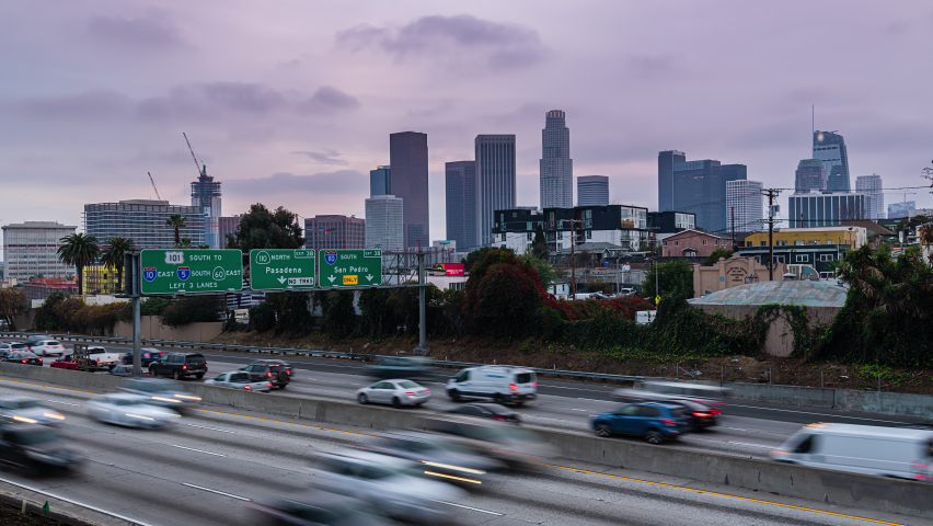 Downtown Los Angeles Day to Night Time lapse