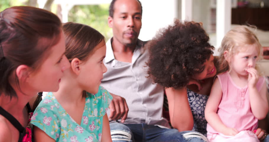 Group Of Families At Home On Patio Talking Together | Shutterstock HD Video #10694009