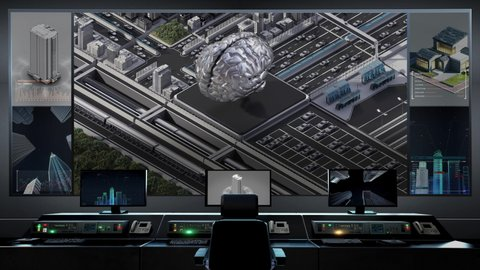 Traffic in a city controlled by Digital AI brain. Smart city concept with an AI cpu chip from central control center. 4k animation.