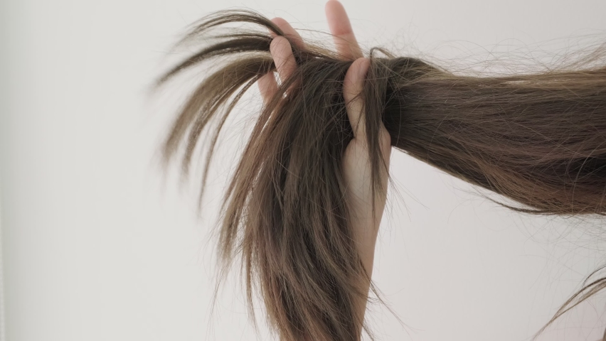 Close up woman holding hair with dry damaged hair problem on white background. Woman upset with dry damaged hair.