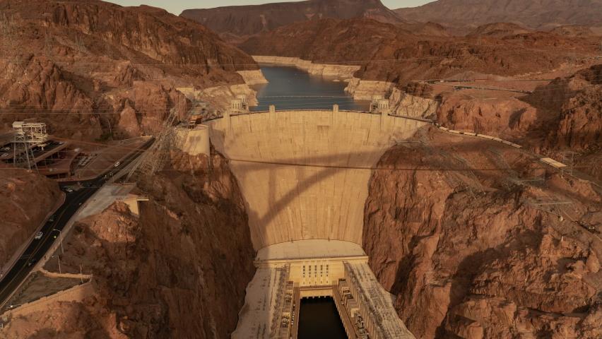 Hoover Dam Lake Mead NRA Sunset Time Lapse Tilt Up Nevada and Arizona USA