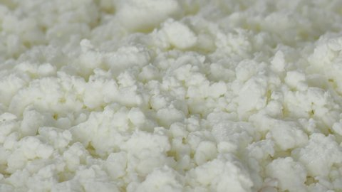 milk is poured into cottage cheese