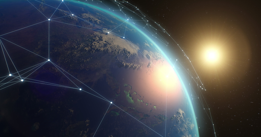 Zoom out view of many artificial satellites connected with white lines forming global network over Earth in space   Shutterstock HD Video #1069610668