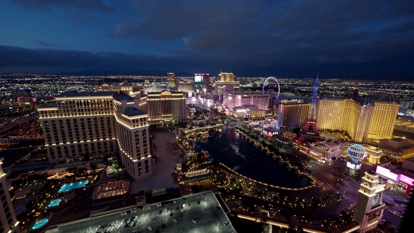 Las Vegas, JAN 26, 2021 - Night high angle time lapse of the Strip cityscape | Shutterstock HD Video #1069611385