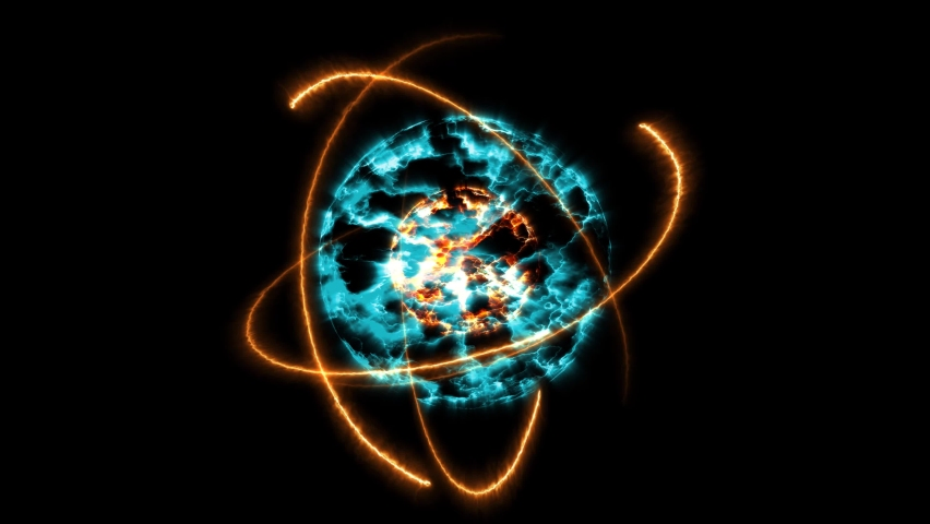 Fire ball and ice and atom moving by infinity energy   Shutterstock HD Video #1069639255