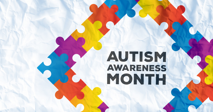 Animation of autism awareness month in frame formed with autism awareness month puzzles. autism and learning difficulties support and awareness concept digitally generated video. Royalty-Free Stock Footage #1069639459