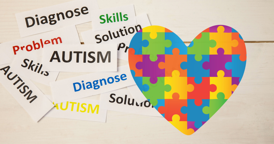 Animation of autism text over heart formed with autism awareness puzzles on white. autism and learning difficulties support and awareness concept digitally generated video. Royalty-Free Stock Footage #1069641637