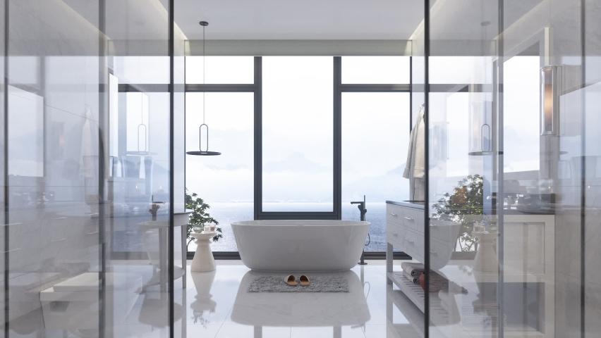 Luxury Bathroom Interior With Bathtub And Beautiful Sea View Royalty-Free Stock Footage #1069666399