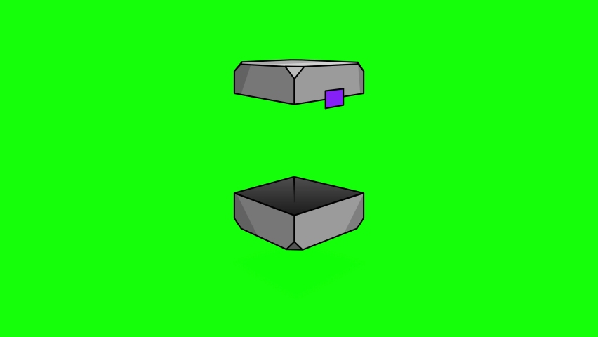 Opening box and closing animation. On a green background, a metal box will blow in the air with a shadow. Box icon for applications, games, cartoons and presentations. Royalty-Free Stock Footage #1069696063