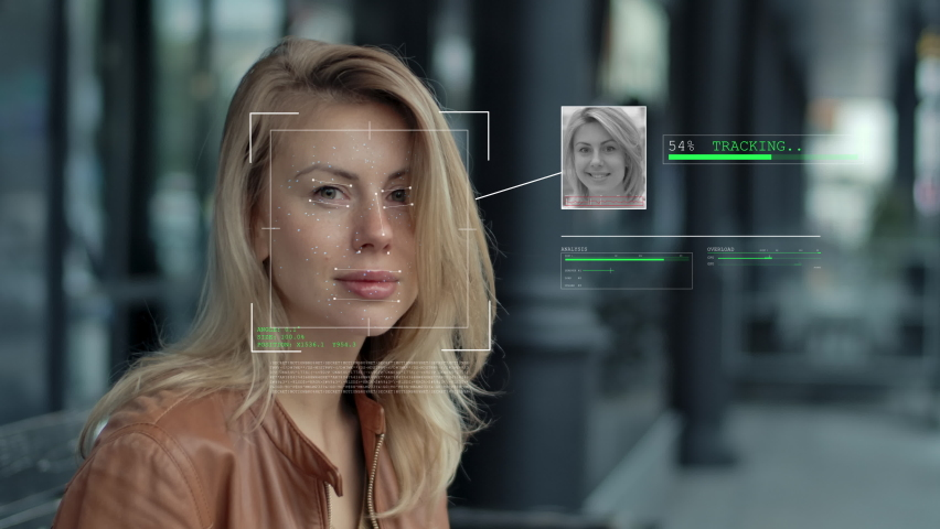 Modern Technology Using Facial Recognition Biometrics Portrait. Person Face Id. Young Beautiful Female Hi-tech 3d Detection Iris. Futuristic Scanned Cyber Security Protection People 4k Close-up Shot Royalty-Free Stock Footage #1069699264