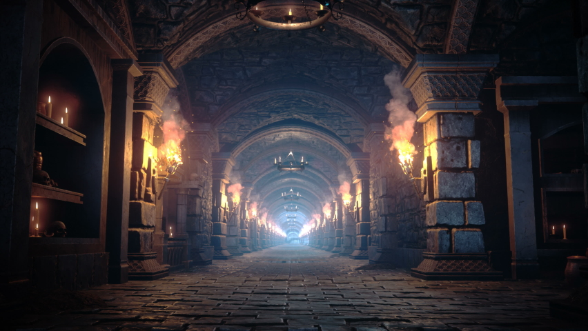Scary endless medieval catacombs with torches. Mystical nightmare concept. The seamless loopable animation is designed for fantasy, mystical or historical backgrounds. Royalty-Free Stock Footage #1069722058