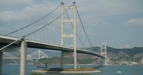 Tsing Ma suspension bridge in Hong Kong