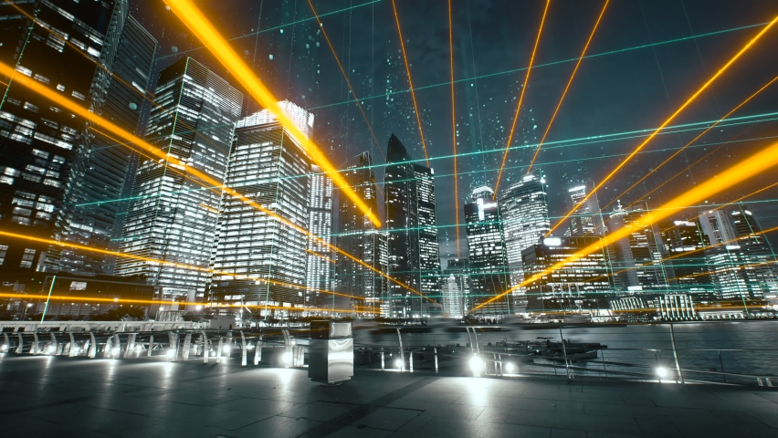 Modern city with abstract futuristic network connections. Digital and technology concept Royalty-Free Stock Footage #1069737250