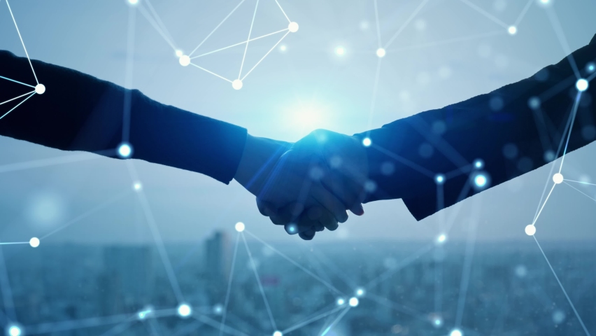 Business network concept. Shaking hands. Human resources. Royalty-Free Stock Footage #1069755961