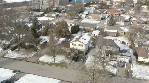Brantford, ON, Canada - January 10, 2019: Aerial view of the Wayne Gretzky's childhood house (Varadi avenue) in Brantford, Ontario, Canada
