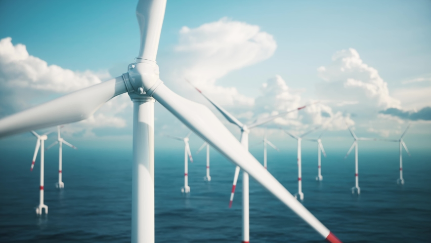 Offshore Windmill farm in the sea. Closeup of Windmill farm from aerial view | Shutterstock HD Video #1069767073