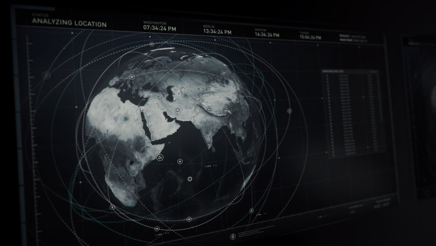 Special Satellite Software Allowing Government Defense Forces a Quick Access to All the Newest Data from Around the World. Checking Iran. Live Video of a Military Airbase on a Computer Screen. UI. | Shutterstock HD Video #1069783339