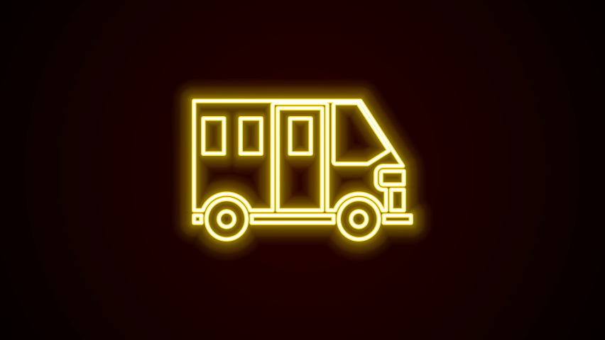 Glowing neon line School Bus icon isolated on black background. Public transportation symbol. 4K Video motion graphic animation.