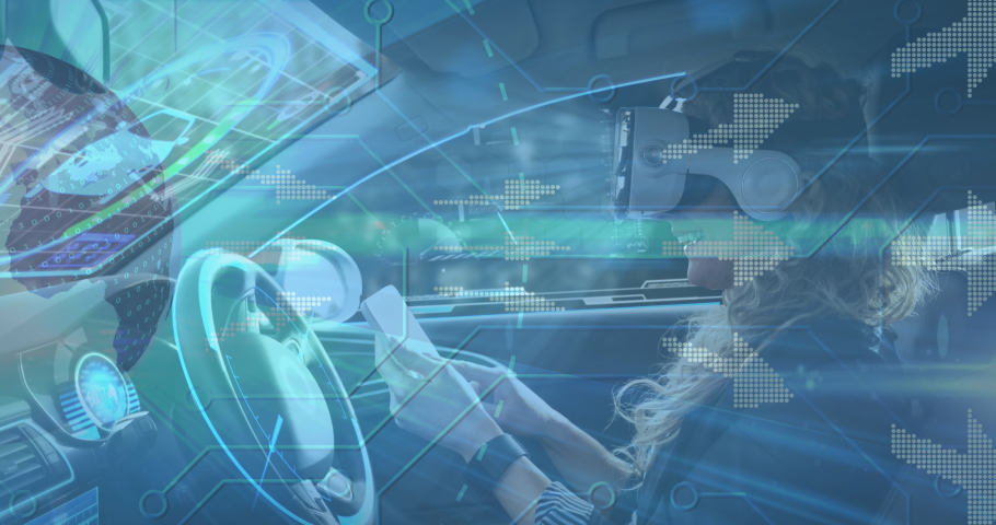 Digital icons against woman wearing vr headset using digital tablet in self driving car. computer interface and futuristic technology concept