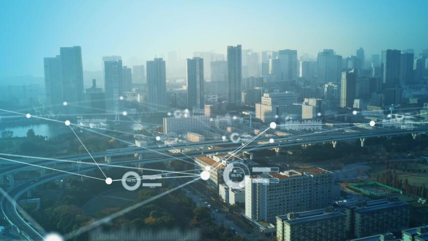 Smart city and communication network concept. 5G. LPWA (Low Power Wide Area). Wireless communication. | Shutterstock HD Video #1069876429