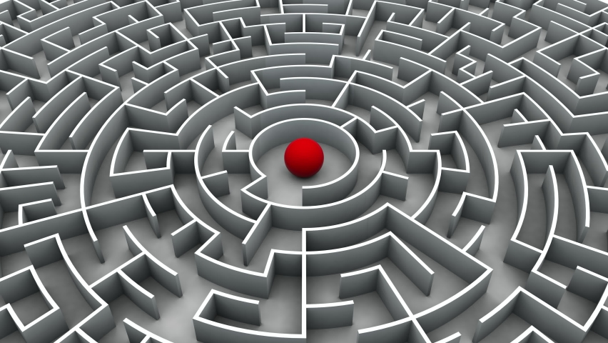 3d animation of the maze with a red ball that destroys the walls moving forward and goes beyond the maze. The idea of original, non-standard solutions. A maze in the noise, freedom in the light. Royalty-Free Stock Footage #1069888942