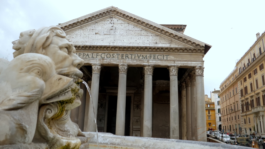 Antique travertine fountain with fish sculptures on piazza Rotonda outside temple of gods Pantheon. Royalty-Free Stock Footage #1069896952