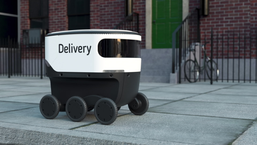 Automated Delivery Robot Service Driving on Urban Street. Modern Smart Wireless Robot Delivers Goods or Food to a Customer. New Technological Iot Business Industry of Delivery Logistic of Online Shop Royalty-Free Stock Footage #1069938781