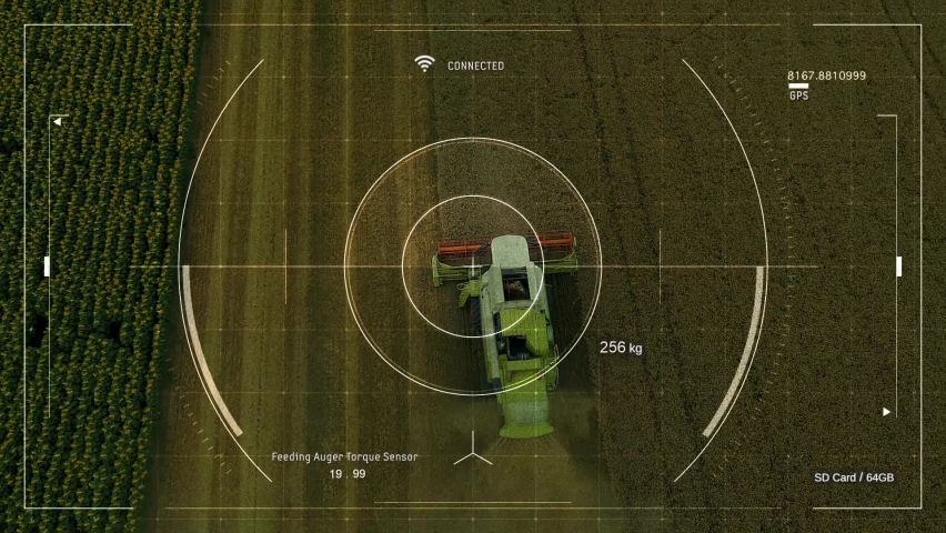 Smart Agriculture - Agricultural Drone With Smart Farming Application for Overall Harvest Control and Data Collection. Combine Harvester Sensors for Precision and Efficient Farming. Royalty-Free Stock Footage #1069960192
