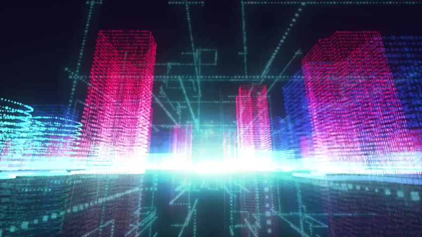 Animation of pink glowing 3d digital modern buildings in a city and glowing blue lines on black background. Urban architecture concept digitally generated  | Shutterstock HD Video #1069977061