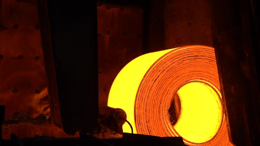 Red hot metal line. Production of rolled metal at a metallurgical factory | Shutterstock HD Video #1070019583