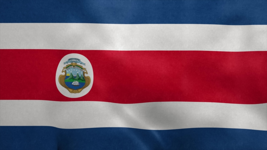 Republic of Costa Rica flag blowing in the wind. Seamless loop | Shutterstock HD Video #1070045791