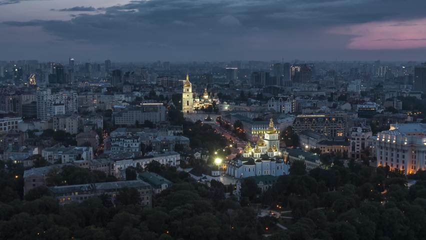 Establishing Aerial View Shot of Kyiv Kiev, Ukraine, at evening night