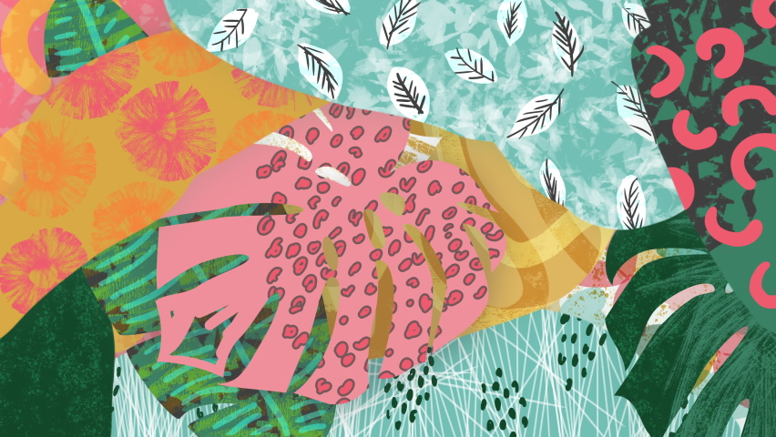 Abstract tropical plants loop. 90s style background. Hand drawn colorful leaves, shapes, scribbles. Monstera, banana palms. Animated painting, digital brush strokes. Fun trendy retro 90's animation.