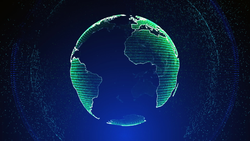 Globe news animation maps background Technology Background detailed globe. 3D Visualization Processor Power. Colorful Blue-Green Digitalization Process. Data Transmission Futuristic Industry world map Royalty-Free Stock Footage #1070148673